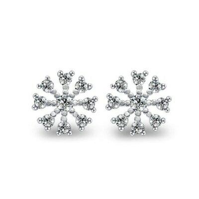 925純銀耳環鑲鑽耳飾~簡潔亮眼雪花 生日情人節 女飾品73dm37~ ~~米蘭 ~