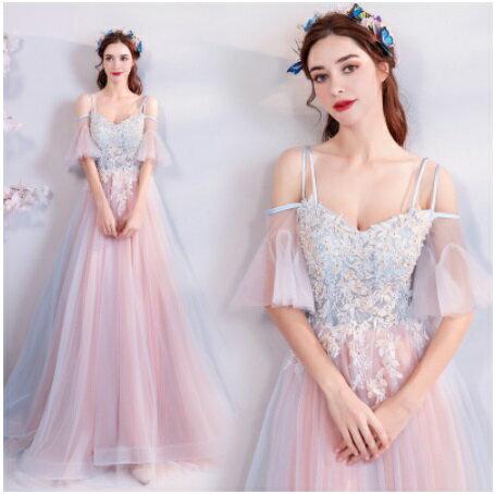 天使嫁衣【AE7268】藍粉色吊帶露肩蕾絲收腰托尾長禮服˙預購訂製款