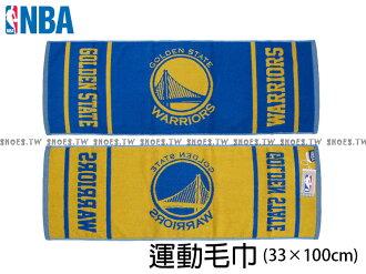 Shoestw【8531502-023】NBA毛巾 純棉 運動毛巾 方形毛巾 街頭籃球 33CMX104CM 勇士隊
