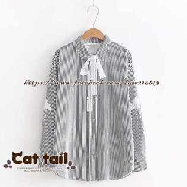 《貓尾巴》TS-0434簡約豎條紋長袖襯衫(森林系日系棉麻文青清新)