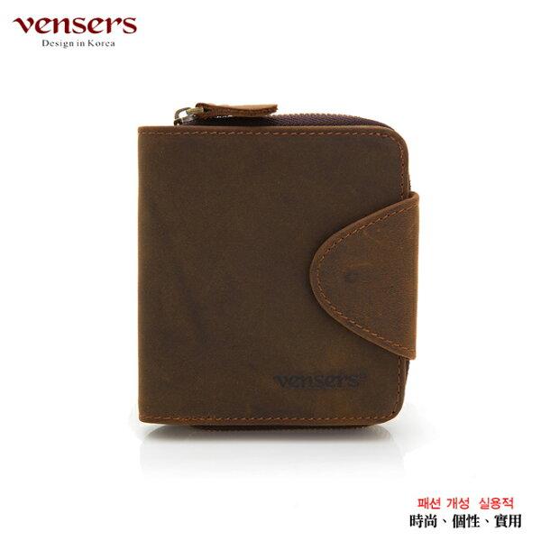【Vensers】小牛皮潮流個性皮夾~(NB0027201咖啡短夾)
