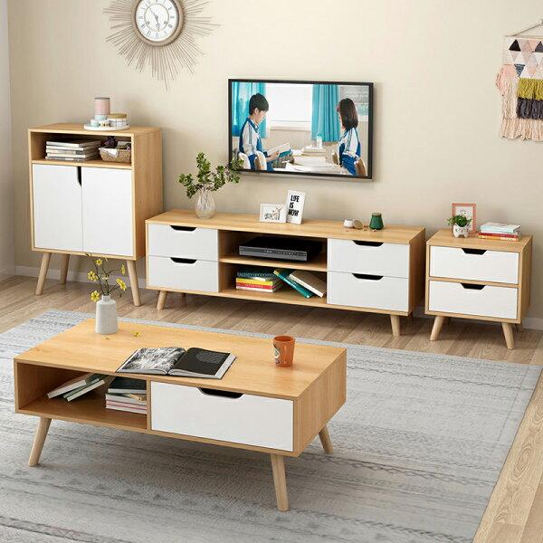 !新生活家具!《歐尼爾》DIY家具組電視櫃+茶几+二斗櫃+儲物櫃四套組實木腳北歐現代三色