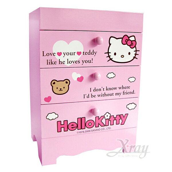 X射線【C953199】HelloKitty桌上三層收納盒,置物櫃收納櫃收納盒抽屜收納盒木製櫃木製收納櫃收納箱桌上收納盒