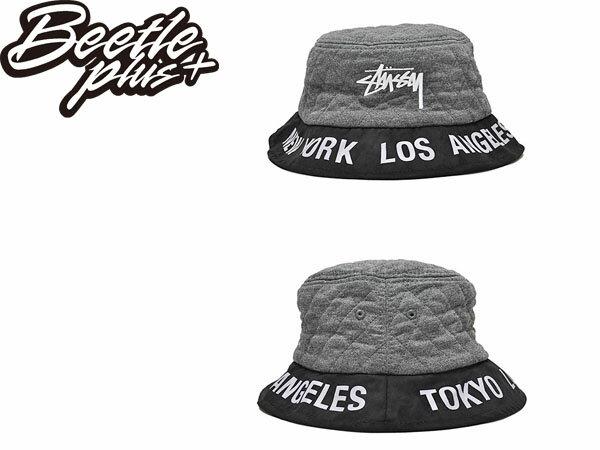 BEETLE STUSSY BUCKET HAT 黑色 黑灰 黑白 城市限定 限量 鋪棉 紐約 洛杉磯 巴黎 漁夫帽 232084 1
