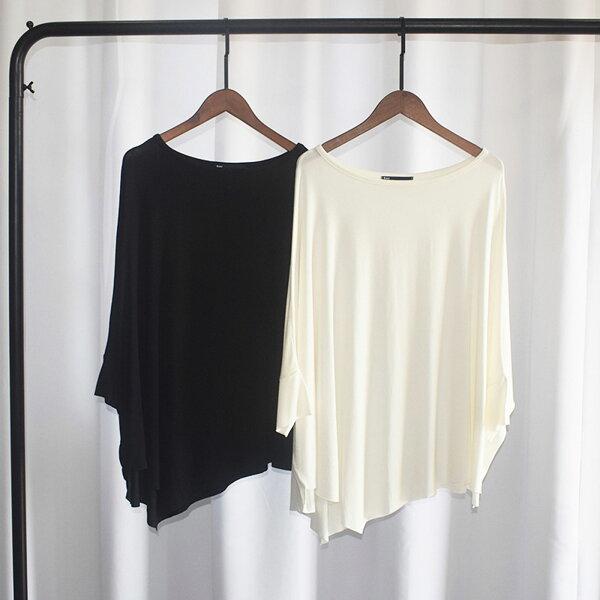 棉T寬鬆垂感莫代爾不規則蝙蝠袖T恤【U3510】☆雙兒網☆