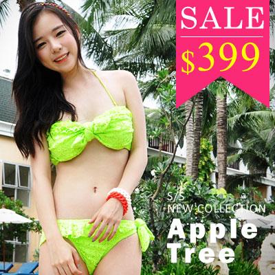 ~ 399~AppleTree日韓~蕾絲花邊單結綁帶兩件套比基尼泳裝2色~405028~