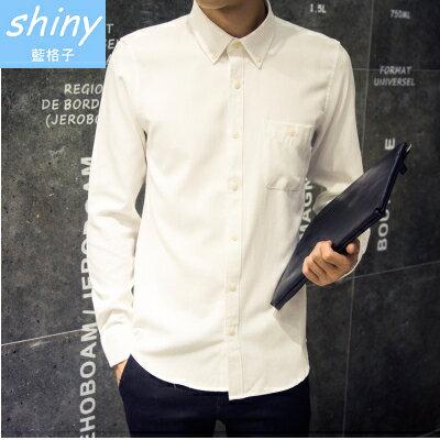 【Y003】shiny藍格子-帥性基調.韓版修身純色帥氣紳士休閒長袖襯衫