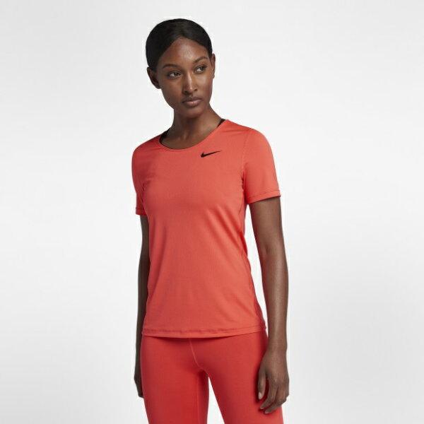 NIKEPRO女裝短袖慢跑訓練透氣舒適橘紅【運動世界】889541-816