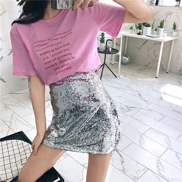Stay 滿版 字母 T 圓領 短袖 上衣 寬鬆 百搭 顯瘦 英文 粉 黑 白 韓國 ANNA S.