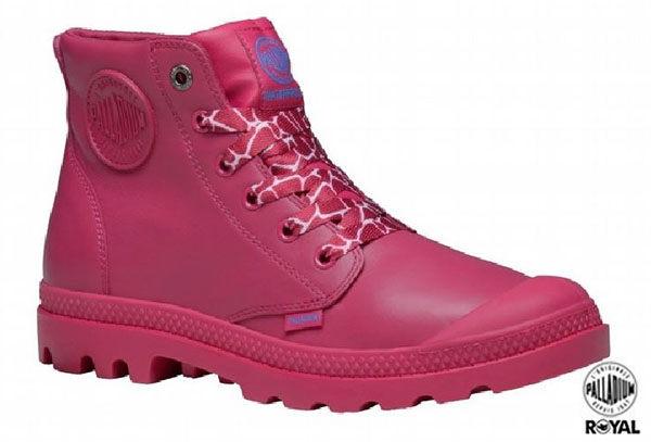 Palladium 新竹皇家 Palladium Pampa 桃色 皮質 防水 爆裂紋 高筒靴 女款 NO.I7311