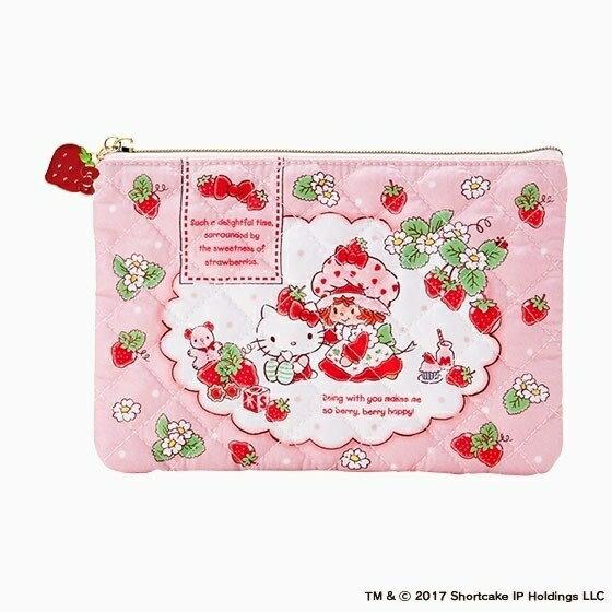 【真愛日本】17012500103 限定聯名SSCKT扁化妝包包-草莓   三麗鷗 Hello Kitty 凱蒂貓   收納包 萬用包   正品