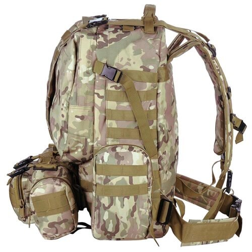 Outdoor Sport Hiking Camping Backpack Large 600D Oxford Trekking Bag W/ Adjustable Chest Belt CP Camouflage 2