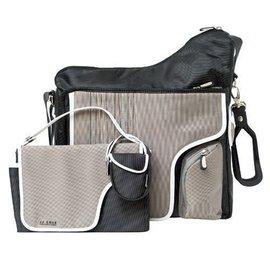 【淘氣寶寶】JJColeCollectionBag媽媽包+尿布墊+奶嘴袋+吊環(4合一)(顏色:灰色)
