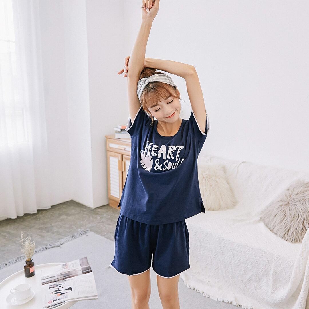大尺碼熱銷追加款居家服 女生純棉流行睡衣 短袖短褲休閒套裝 可愛舒適家居服 共三色S-XL【漫時光】(87005L) 2