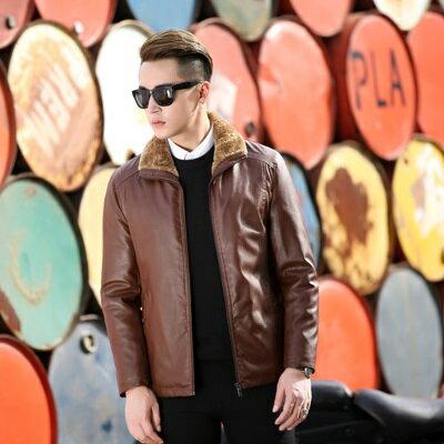 皮衣夾克外套-秋冬翻領純色毛領男夾克2色73pn5【獨家進口】【米蘭精品】 0