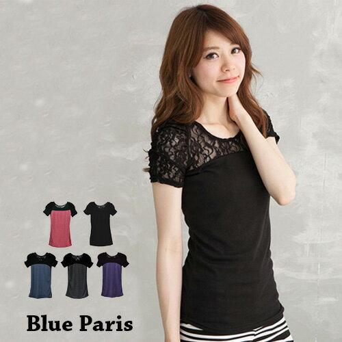 上衣 ~ 短袖純色拼接蕾絲公主袖T恤~25015~藍色巴黎~5色~ ~  好康折扣