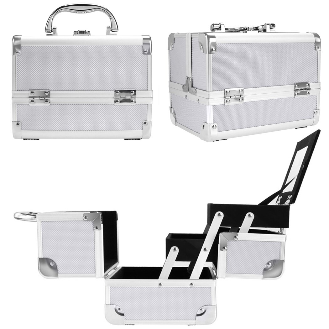 Makeup Travel Case Jewelry Box Lockable Cosmetic Organizer 1