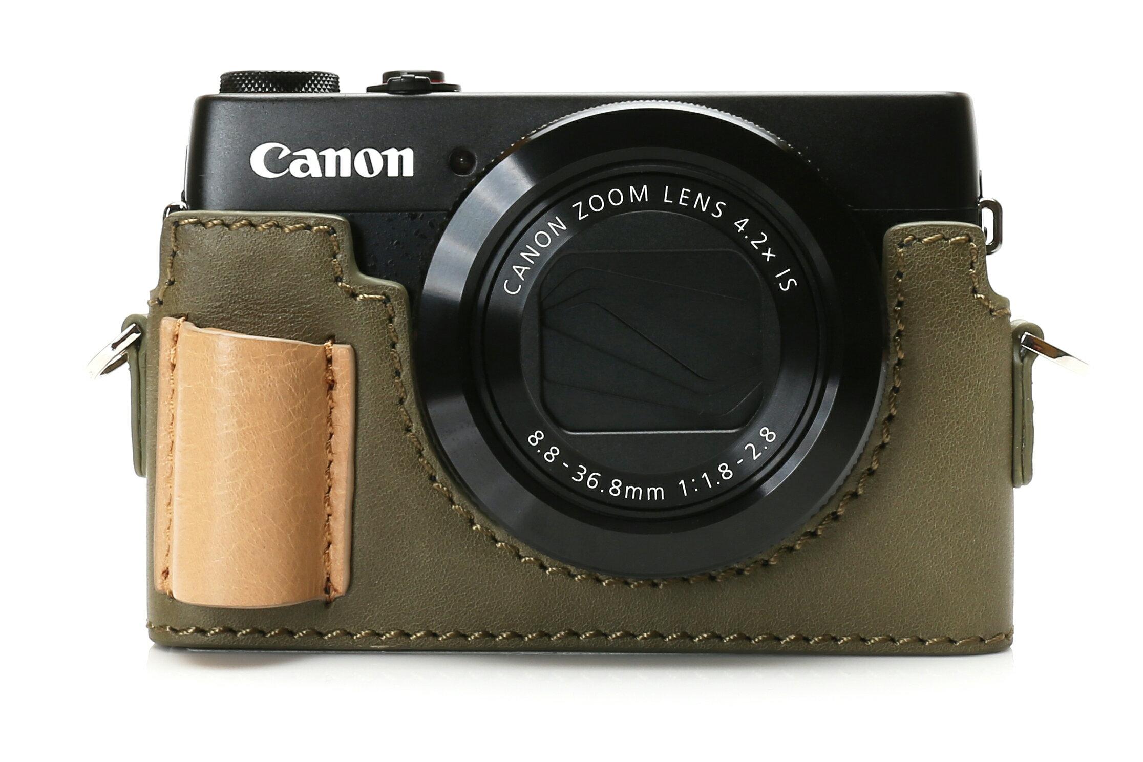 shine away Canon G7X 專用相機底座+真皮蠟染牛皮綠背帶 超值組合 1