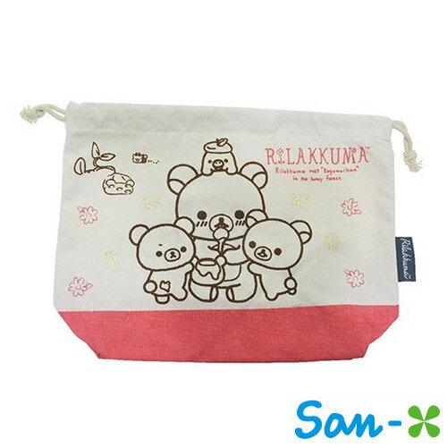 【日本進口正版】San-X 拉拉熊 帆布 束口袋 收納袋 抽繩束口袋 懶懶熊 Rilakkuma - 220647