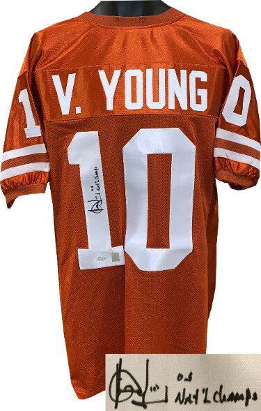 ee6e0d9c8af Vince Young signed Texas Longhorns Orange Custom Stitched College Football  Jersey XL 05 National Champs-