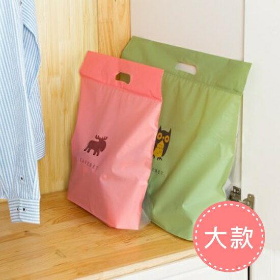 ♚MY COLOR♚圖案印花夾鏈手提袋(大) 櫥櫃 收納 防塵 懸掛 包包 衣物 分類 整潔 居家【L190】