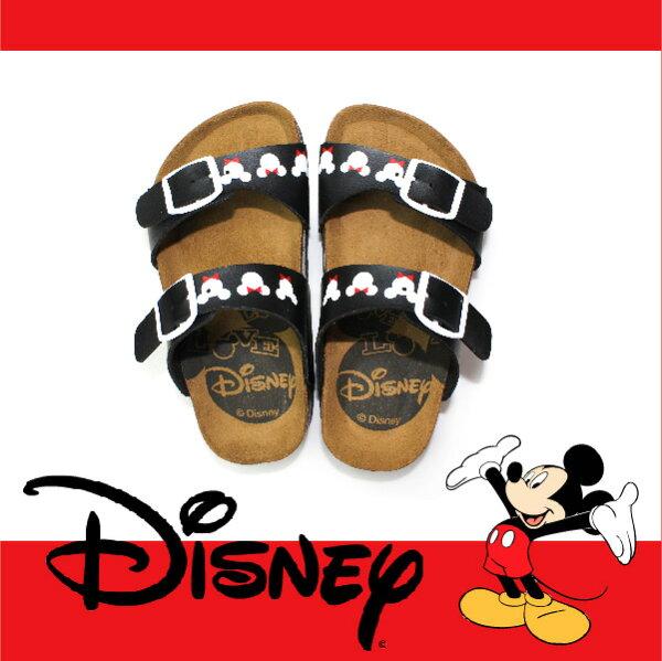 萬特戶外運動休閒 - 正版迪士尼勃肯兒童拖鞋 可調式雙帶拖鞋 米奇米妮 親子款 (黑色)