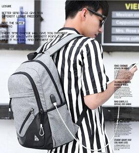 【有折扣碼x現貨免等】棉麻質感USB可充電後背包書包可放15.6吋筆電防潑水【BGAA0235】