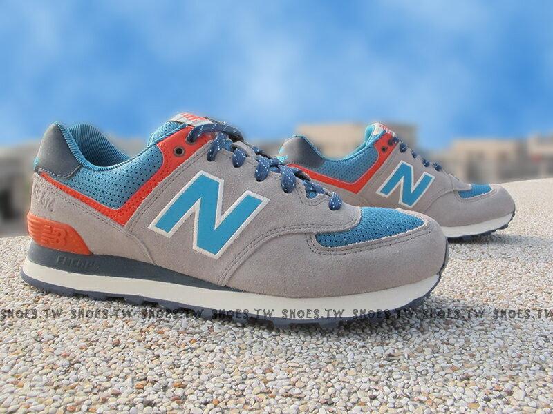 [28cm]《超值990元》Shoestw【ML574SOE】NEW BALANCE 574 復古慢跑鞋 灰麂皮藍 點點