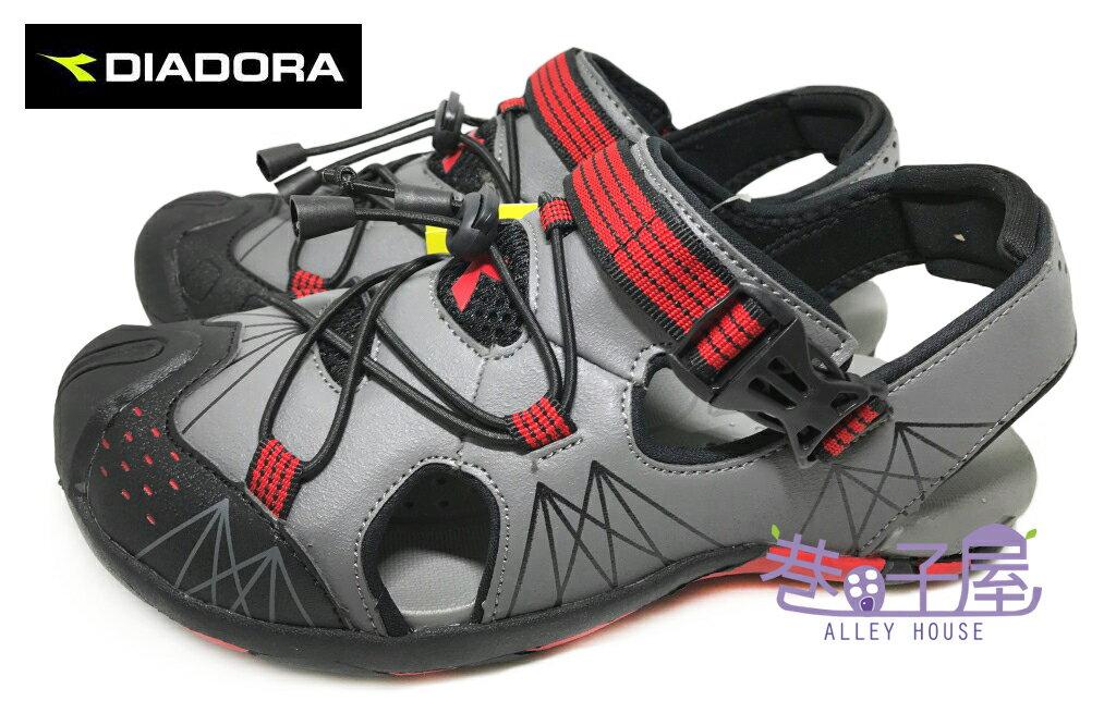【巷子屋】義大利國寶鞋-DIADORA迪亞多納 男款輕量護趾運動涼鞋 [2138] 灰 超值價$498