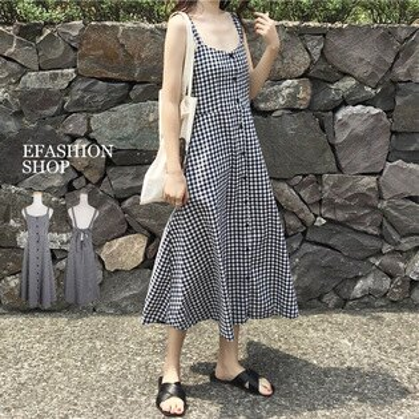 背心洋裝-閨蜜裝後綁帶排扣格子長洋裝-eFashion預【H13973880】