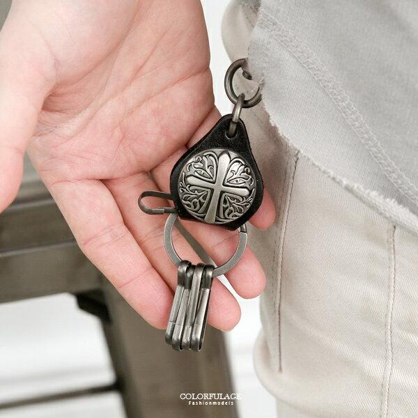 鑰匙圈雕紋十字架圓牌皮革造型【NF95】可掛於包包腰間
