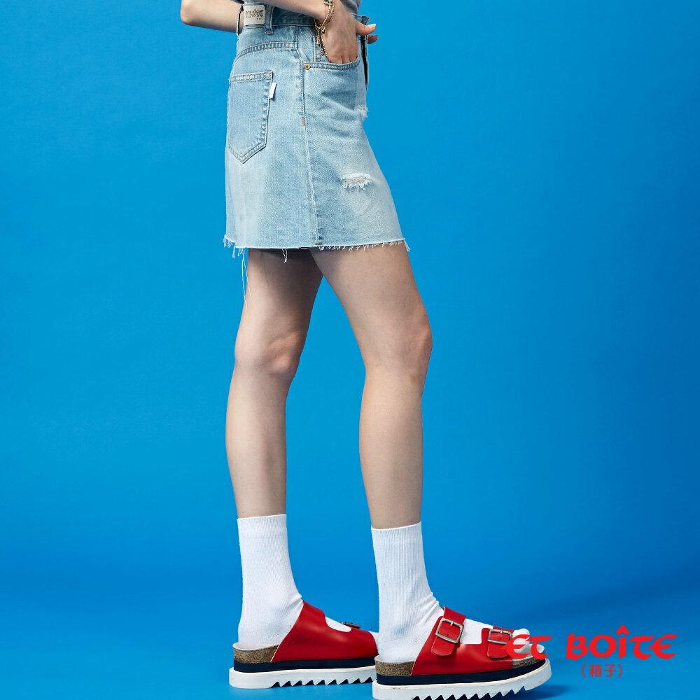 【春夏新品】激光刷破牛仔短裙- BLUE WAY  ET BOiTE 箱子 1