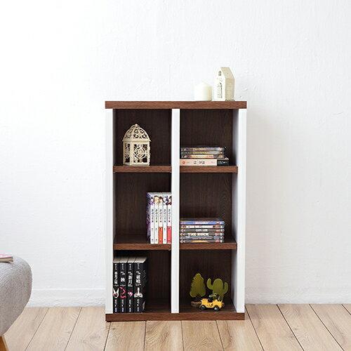 《Accessco》日系雙色六格厚板收納書櫃 [胡桃白]