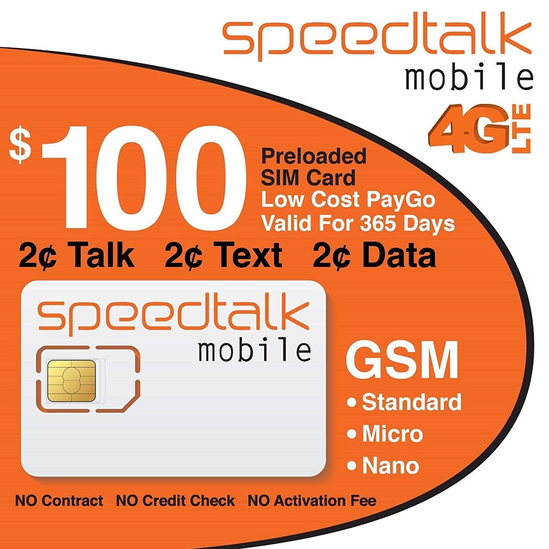 Prepaid SIM Card for Unlocked Cell Phones - Talk & Text 2G 3G 4G LTE Data -  1 Year Service
