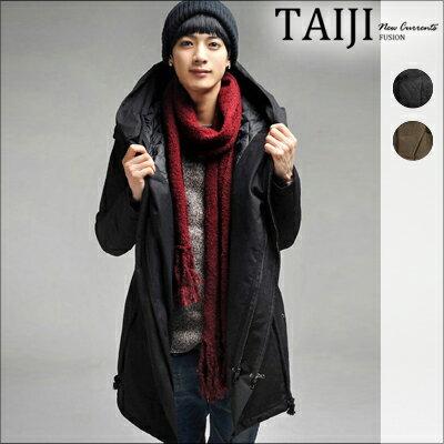街頭風格‧連帽抽繩開叉後擺硬挺版型軍裝外套‧二色‧加大尺碼【NTJBMY07】-TAIJI-