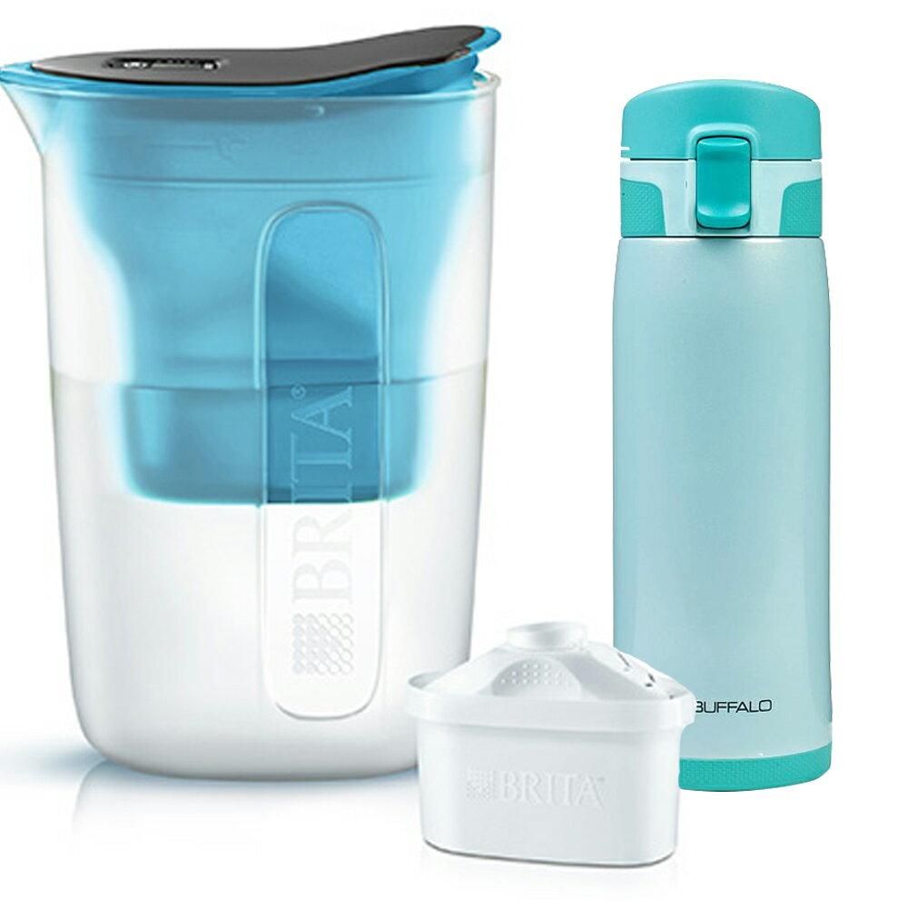 【德國BRITA x牛頭牌】 FUN酷樂壺濾水壺1.5L+保溫瓶450cc(藍色)S1026597_AF1E401