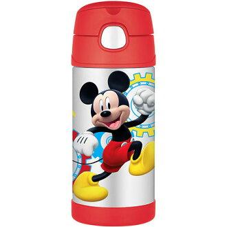 【美國膳魔師 Thermos】不鏽鋼兒童吸管水壺 (米奇F4015MC6)兒童學習水杯