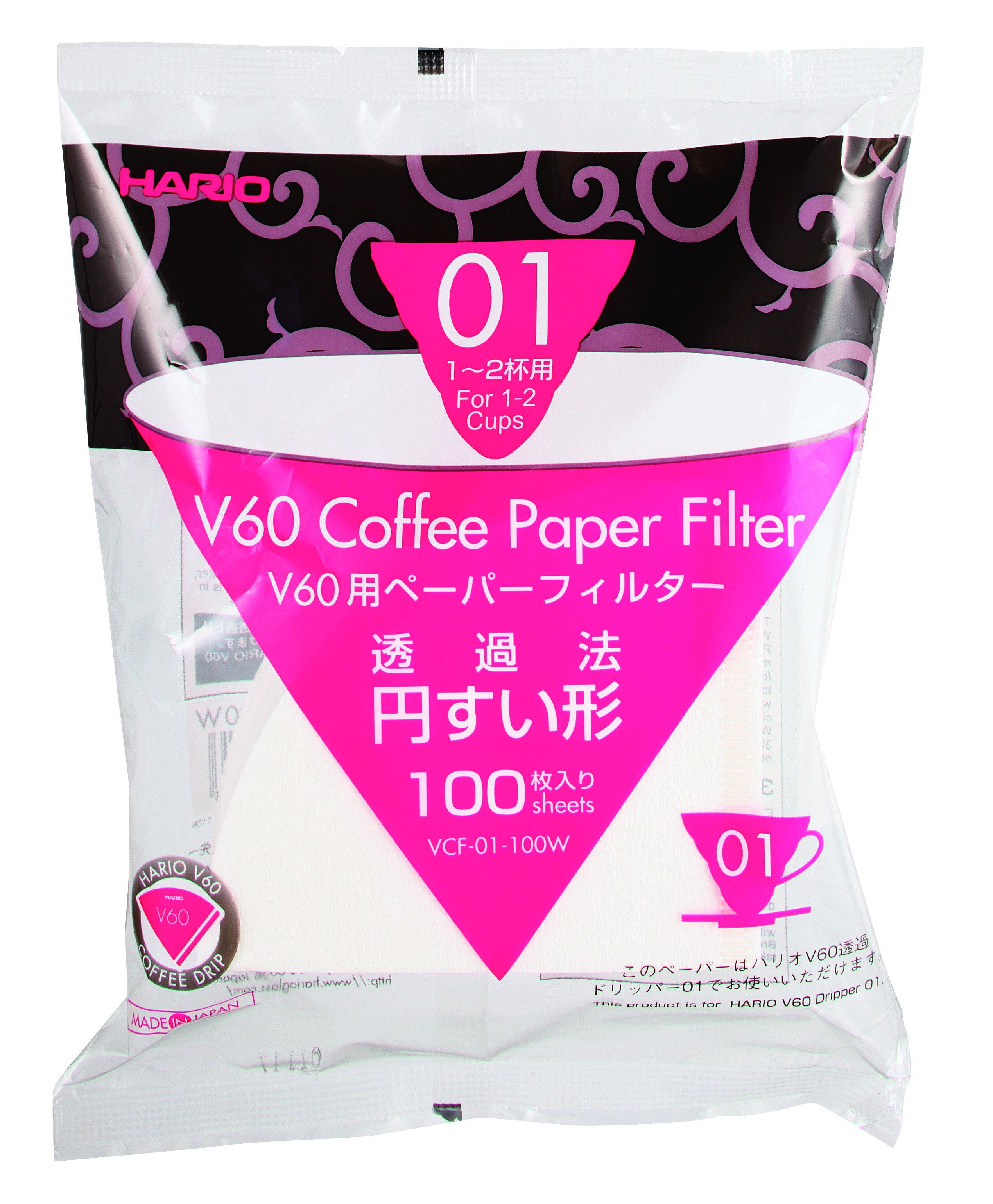 [微聲咖啡] Hario VCF-01-100W 酵素漂白 咖啡 濾紙 1-2 杯用 100 枚/包