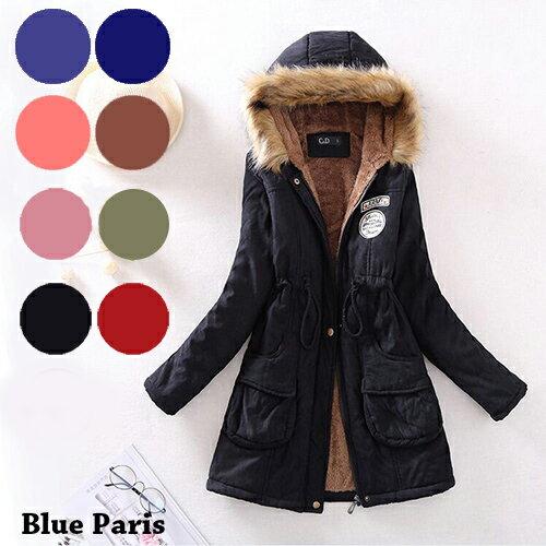 鋪棉外套 - 泰迪熊絨毛徽章收腰修身鋪棉大衣【29035】藍色巴黎《8色》現貨