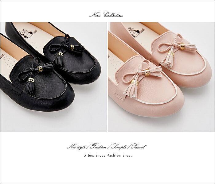 格子舖*【AW526】*限時免運* MIT台灣製 蝴蝶結流蘇 豆豆鞋 圓頭包鞋 娃娃鞋 3色 2