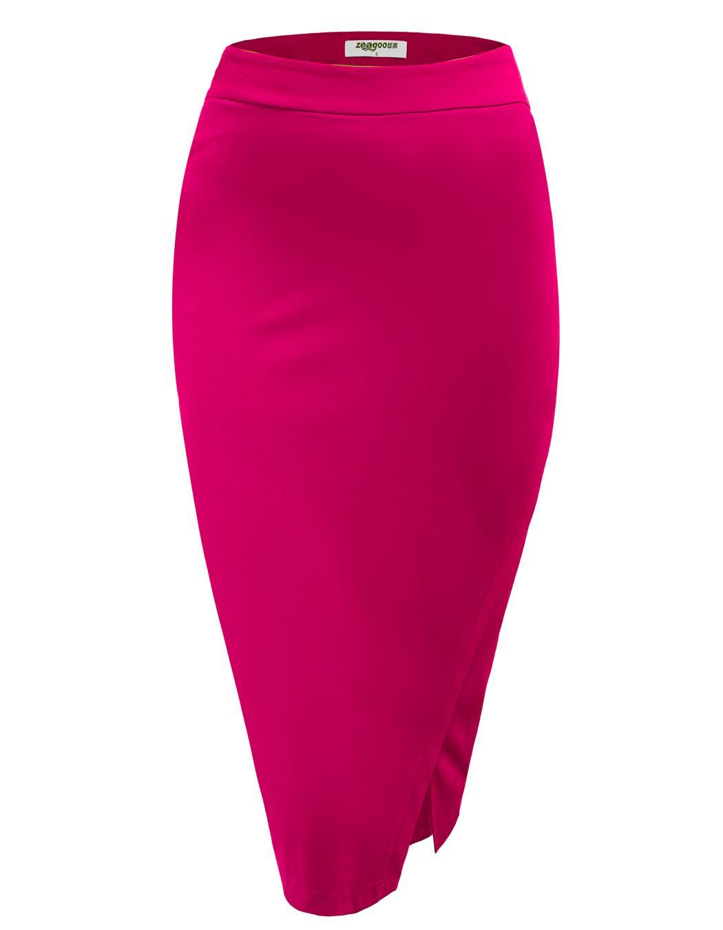 Women High Waist Slim Stretch Side Split Pencil Skirt 3