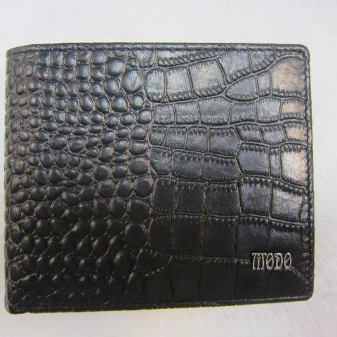 ~雪黛屋~moDo 鱷魚紋 男紳仕短型皮夾 100%進口牛皮 二拉鍊暗袋口設計 MD360-073-2001 黑