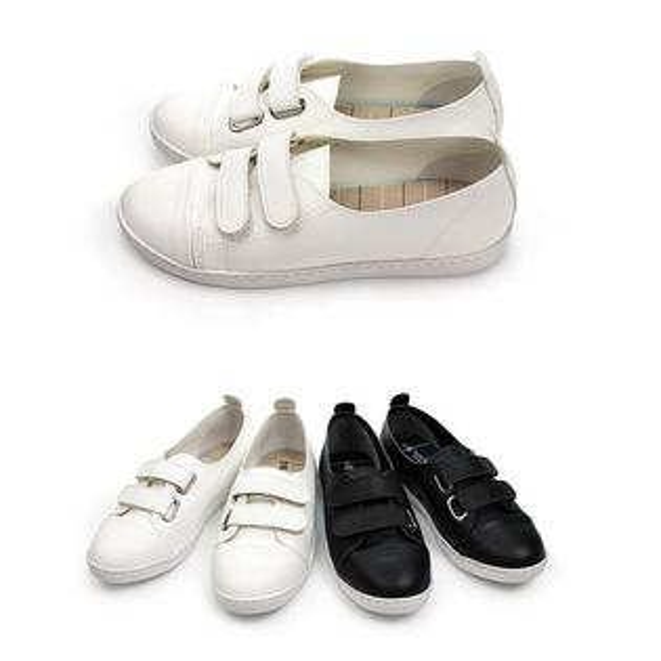 【Mystyle】富發牌1CSW01雙魔鬼氈設計休閒鞋(黑.白)23-25號-任兩雙免運