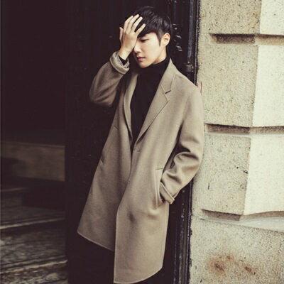風衣外套中長版毛呢大衣-英倫時尚翻領帥氣男外套2色73ip1【獨家進口】【米蘭精品】