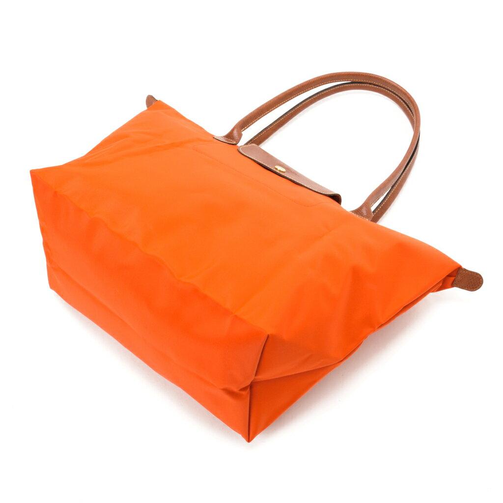 [長柄M號]國外Outlet代購正品 法國巴黎 Longchamp [1899-M號] 長柄 購物袋防水尼龍手提肩背水餃包 亮橘色 2
