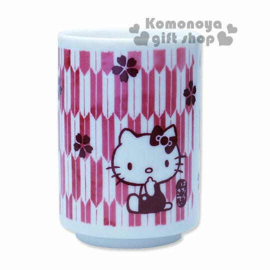 〔小禮堂〕Hello Kitty 日製陶瓷茶杯~暗紅.櫻花.180ml~精緻金正瓷器 ~