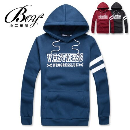 ☆BOY-2☆ 【NR73998】連帽長袖韓版簡約條橫抽繩T恤 0
