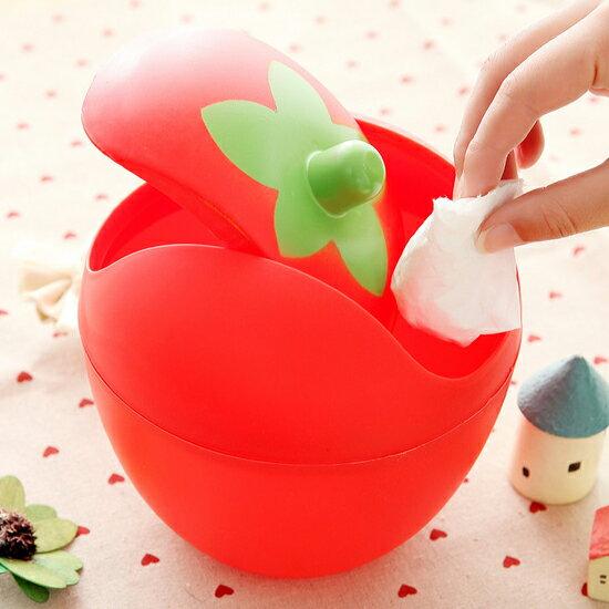 ♚MY COLOR♚迷你草莓款垃圾桶 收納筒 化妝檯 桌上 小號 家用 時尚 辦公室 雜物 文具【F56】