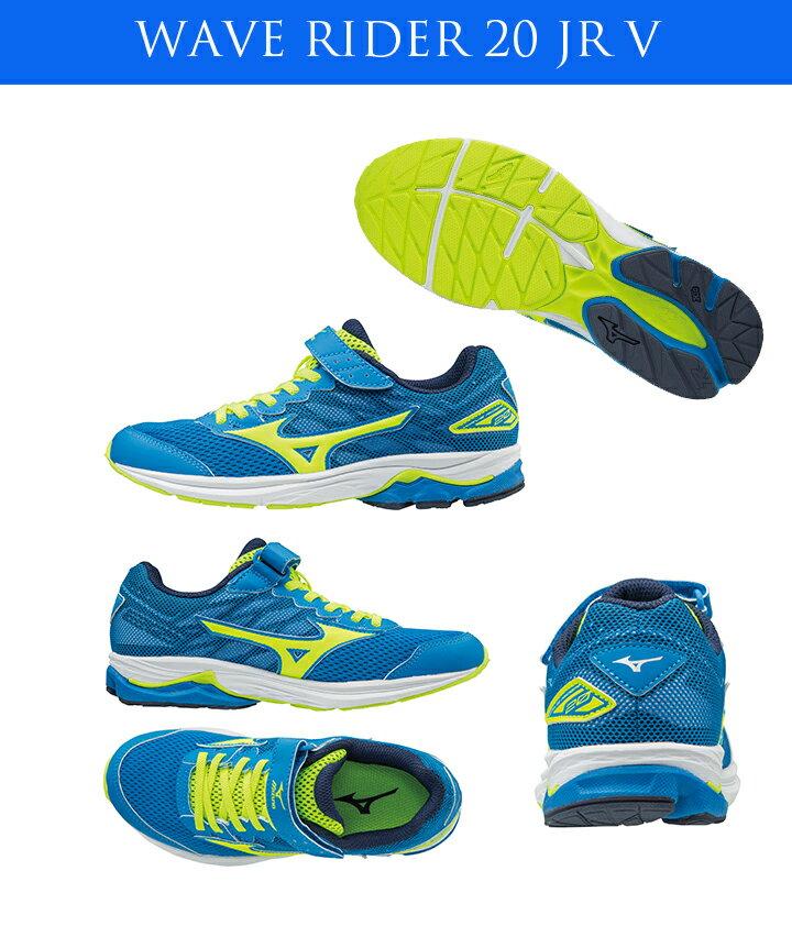 K1GC173144(藍X螢光綠)WAVE RIDER 20 Jr.V 黏貼帶式童鞋 A【美津濃MIZUNO】【品牌盛典   滿2000元結帳輸入序號『SUPERBRAND』再9折】 1
