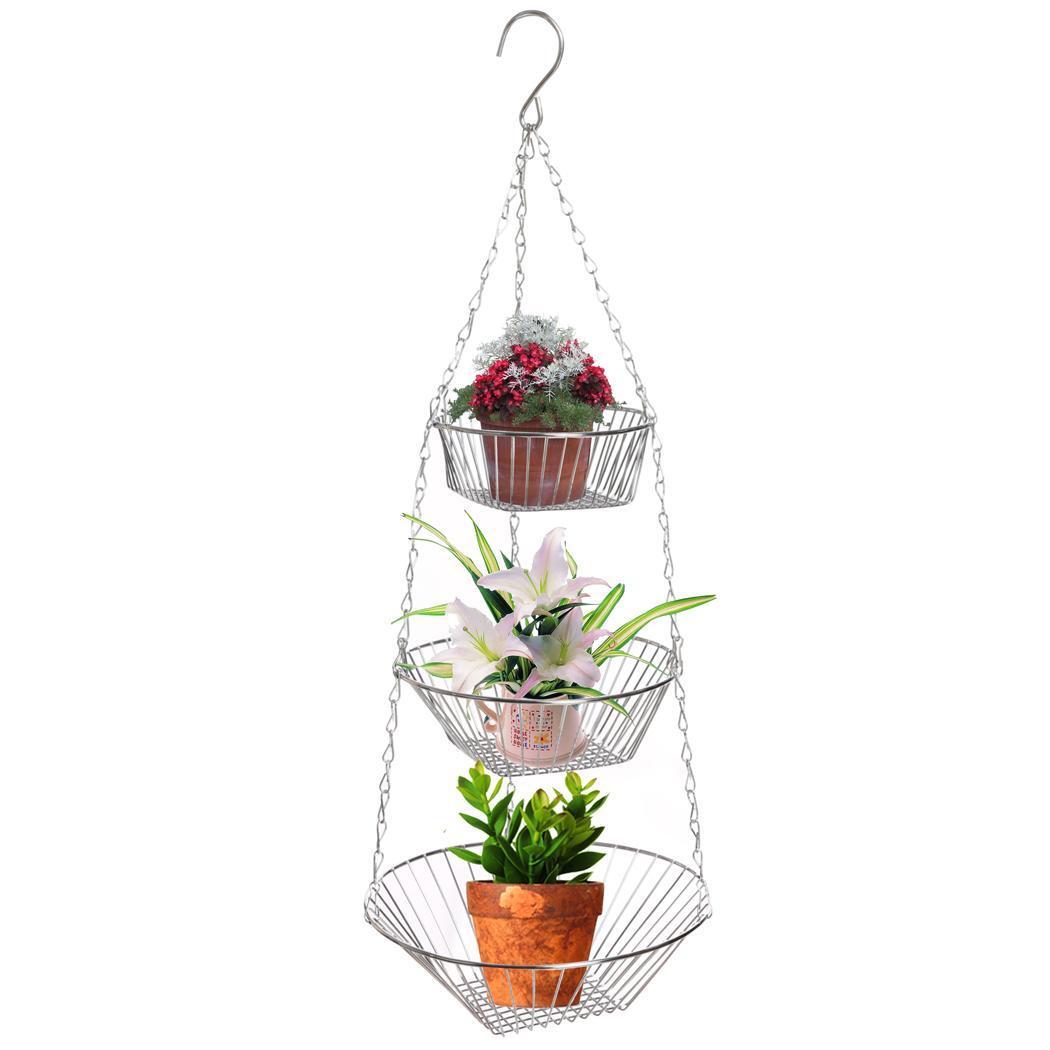 3-Tier Wire Hanging Chrome Fruit Flower Storage Basket 0